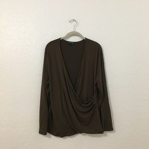 Lauren Ralph Lauren Brown Faux Wrap Shirt